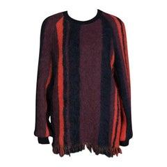 Dries Van Noten Blanket Striped Columbia Wool and Alpaca Fringed Hem Sweater M