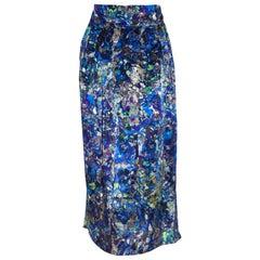 Dries Van Noten Blue Hue Abstract Print Pleated Skirt