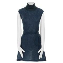 DRIES VAN NOTEN blue mohair blend stitch belted sleeveless turtleneck dress FR38