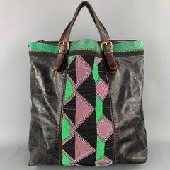 DRIES VAN NOTEN Brown & Green Patchwork Beaded Leather Handbag