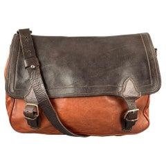 DRIES VAN NOTEN Brown Leather Rectangle Messenger Bag