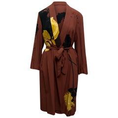 Dries Van Noten Brown & Multicolor Abstract Print Robe