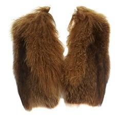 DRIES VAN NOTEN brown racoon fur lamb shearling trimmed cropped vest jacket L