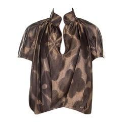 Dries van Noten Brown Silk Short Sleeve Top M