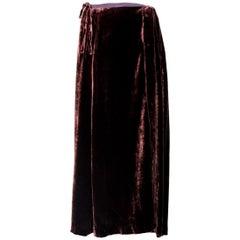 Dries Van Noten Brown Silk Velvet Long Evening Skirt 1990s