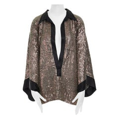 DRIES VAN NOTEN copper sequins fully bead embellished silk trim kimono top FR38
