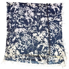 Dries Van Noten Cotton Scarf Shawl in Blue and White Foliage Cyanotype print
