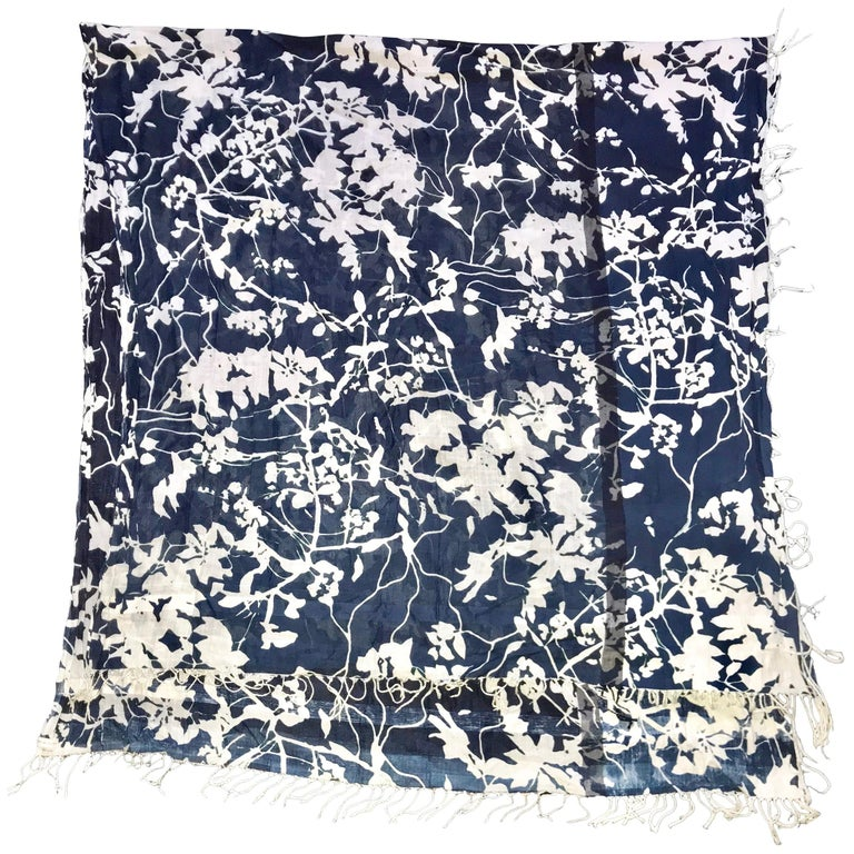 Dries Van Noten Cotton Scarf Shawl In Blue And White Foliage Cyanotype Print For