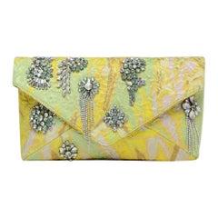 Dries van Noten Crystal Embellished Brocade Envelope Clutch Bag rt $1,250