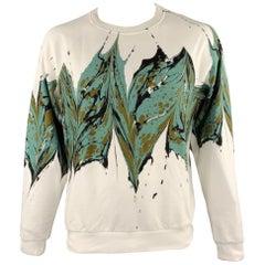 DRIES VAN NOTEN F/W 18 Size L White Ebru Marble Print Cotton Sweatshirt