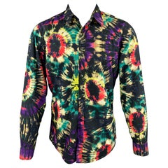 DRIES VAN NOTEN F/W 19 Size M Multi-Color Tie Dye Cotton Button Up Long Sleeve S