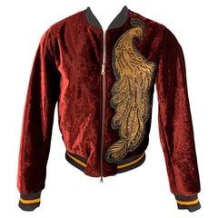 DRIES VAN NOTEN F/W 2016 Size 38 Burgundy Applique Velvet Zip Up Jacket