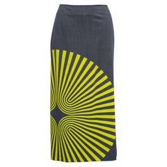 Dries Van Noten Fall 2014 Yellow Spiral Print Pencil Skirt in Grey