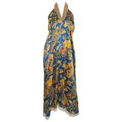 Dries Van Noten Floral Print Halter Dress with Bead Embellishing