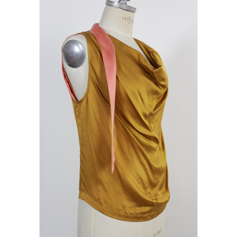 e7844bc5ddff39 Dries Van Noten vintage shirt. Ceremony top, gold and pink, 100% silk