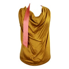 Dries Van Noten Gold Pink Silk Ceremony Top Sleeveless Soft Shirt