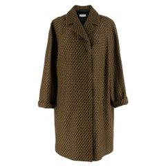 Dries Van Noten Gold Wool Knit Brocade Coat M