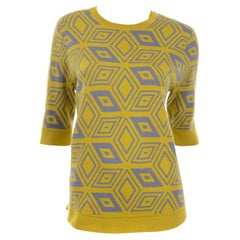 Dries Van Noten Gray and Lime Green Yellow Geometric Wool Summer Sweater