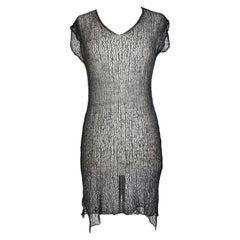 Dries Van Noten Gray Cotton Mesh Transparent Tunic Lon Dress