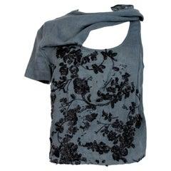 Dries Van Noten Gray Linen Sequins Short Top