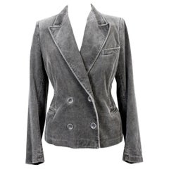 Dries Van Noten Gray Steel Cotton Velvet Jacket Double-Breasted 2000s Flared