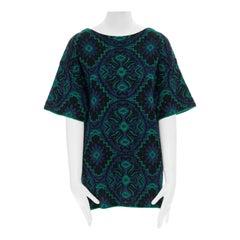 DRIES VAN NOTEN green blue ethnic jacquard knitted boxy short sleeve top M