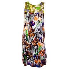 Dries van Noten Green, Blue, Orange, Purple, Black & White Sleeveless Day Dress