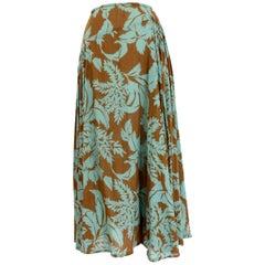 Dries Van Noten Green Brown Cotton Long Soft Floral Skirt