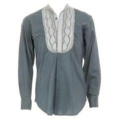 DRIES VAN NOTEN green geometric print embroidered bib tail back ethnic shirt M