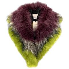 DRIES VAN NOTEN Green & Purple Modacrylic / Acetate Faux Fur Collar