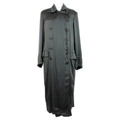 Dries Van Noten Green Silk Double Breasted Long Trench Coat