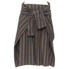 DRIES VAN NOTEN green striped cotton blend tie sleeve waist casual skirt FR36
