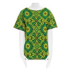 DRIES VAN NOTEN green yellow ethnic oriental floral jacquard knit boxy top XS