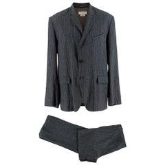 Dries Van Noten Grey Pinstripe Single Breasted Linen Suit - Size L 50