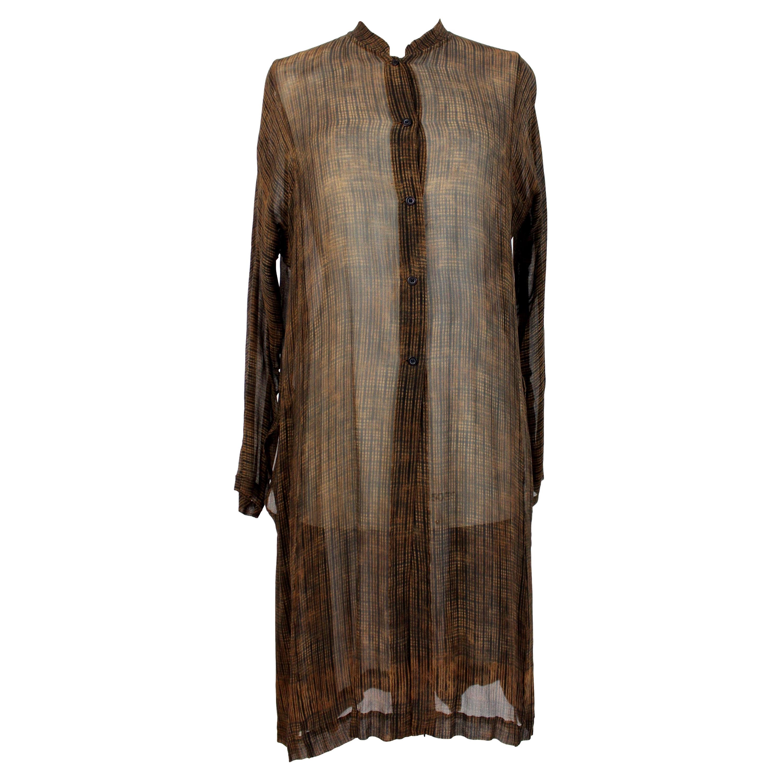 Dries Van Noten Maxi Shirt Silk Dress Brown 1990s Vintage