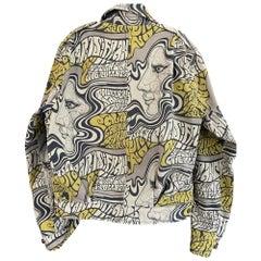 Dries van Noten Men's Cotton Denim Jean Jacket with Psychedelic Pattern
