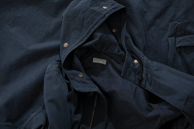 Dries Van Noten Men's Slate Cotton Vaughn Parka With Hood, Fall 2016 For Sale 6