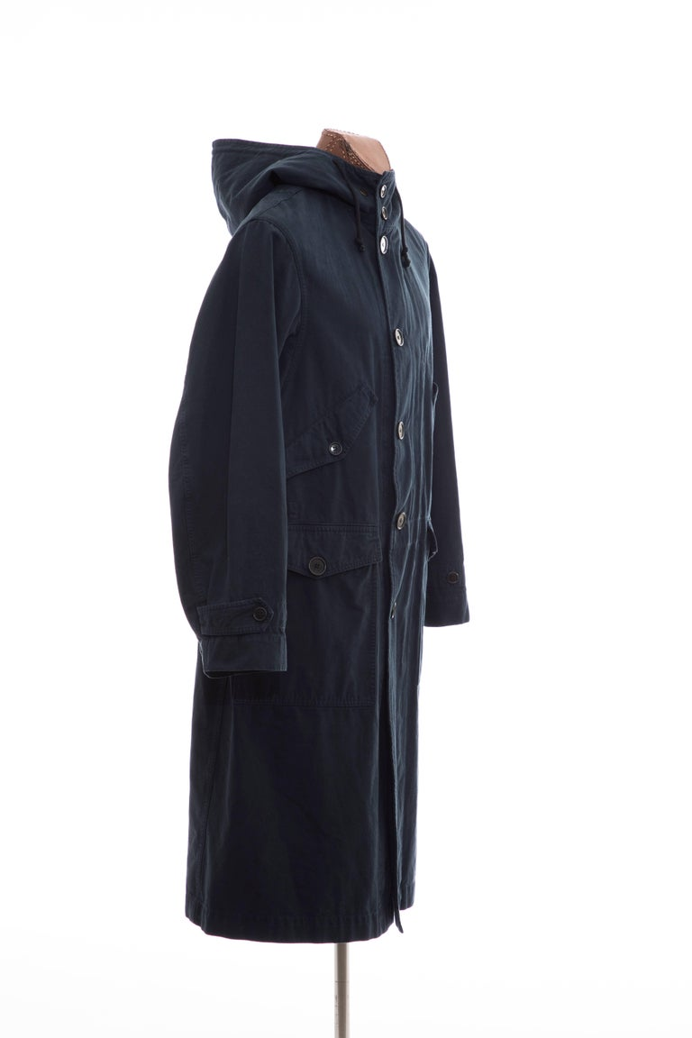 Black Dries Van Noten Men's Slate Cotton Vaughn Parka With Hood, Fall 2016 For Sale