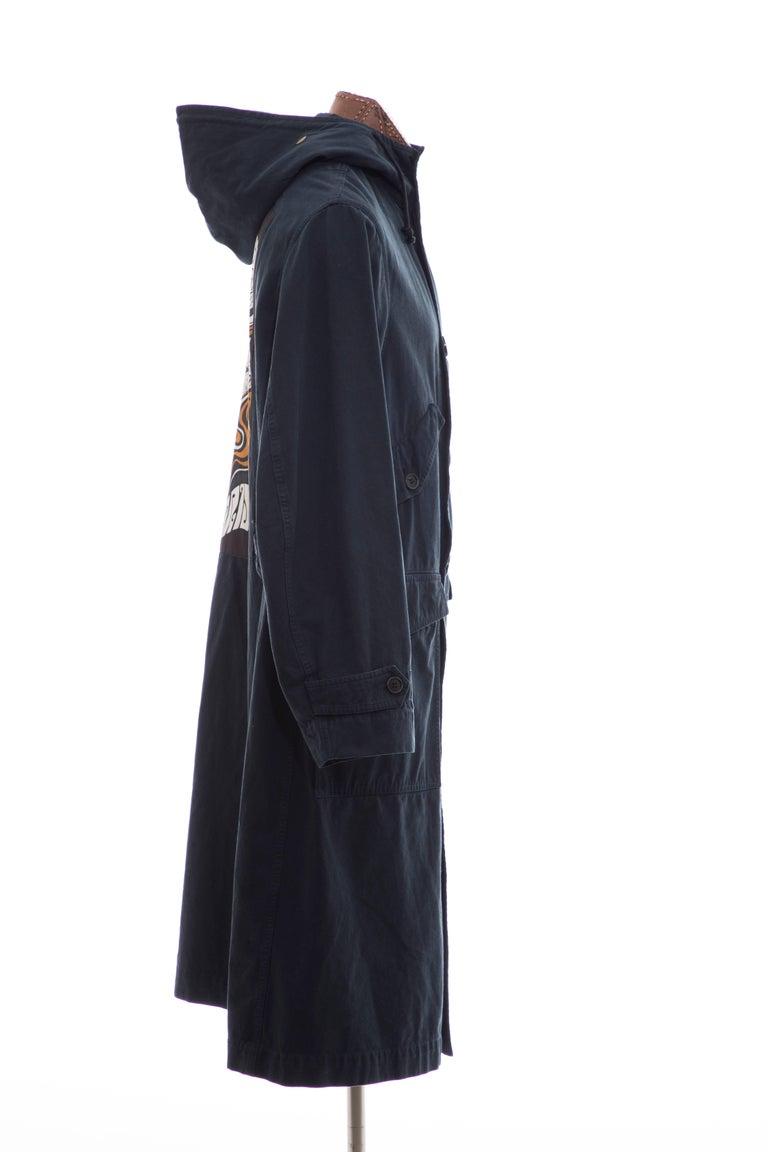 Dries Van Noten Men's Slate Cotton Vaughn Parka With Hood, Fall 2016 In Excellent Condition For Sale In Cincinnati, OH