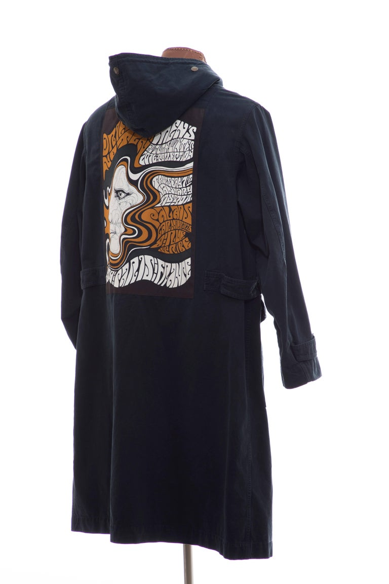 Dries Van Noten Men's Slate Cotton Vaughn Parka With Hood, Fall 2016 For Sale 1