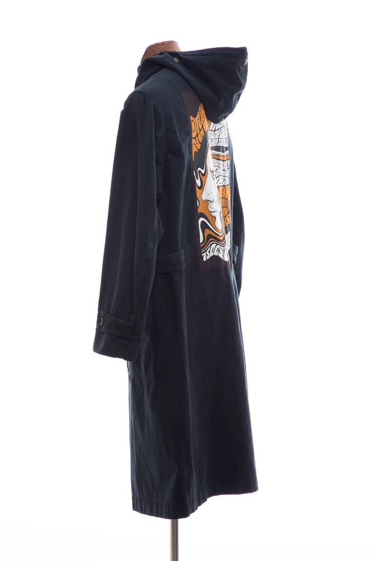 Dries Van Noten Men's Slate Cotton Vaughn Parka With Hood, Fall 2016 For Sale 2