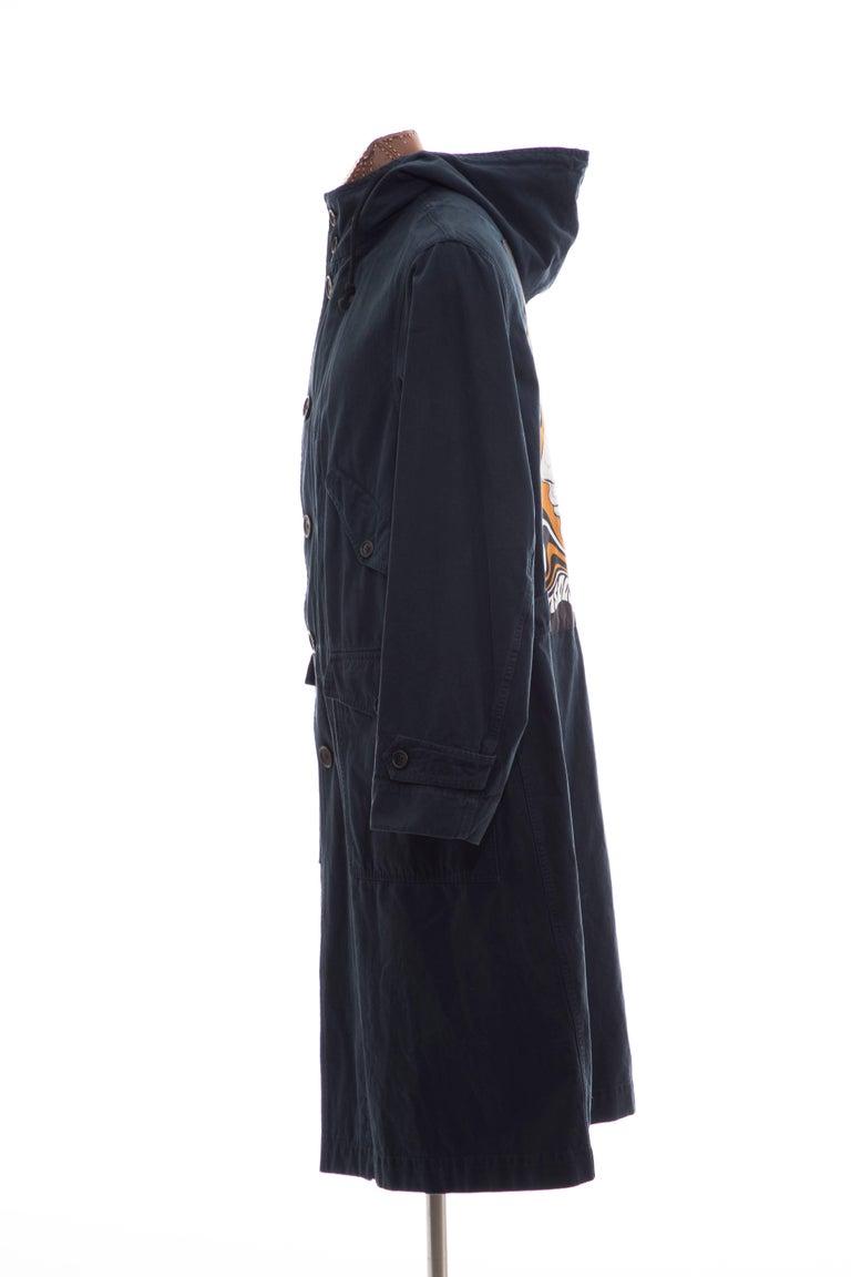 Dries Van Noten Men's Slate Cotton Vaughn Parka With Hood, Fall 2016 For Sale 3