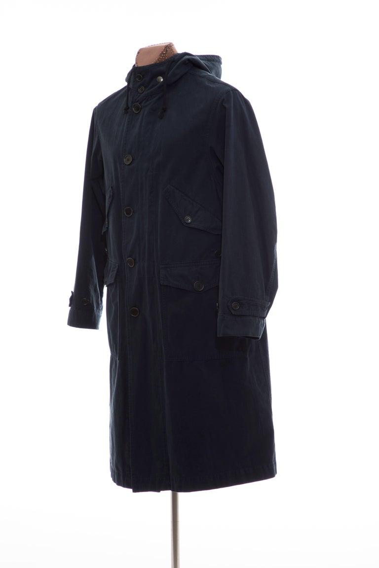 Dries Van Noten Men's Slate Cotton Vaughn Parka With Hood, Fall 2016 For Sale 4