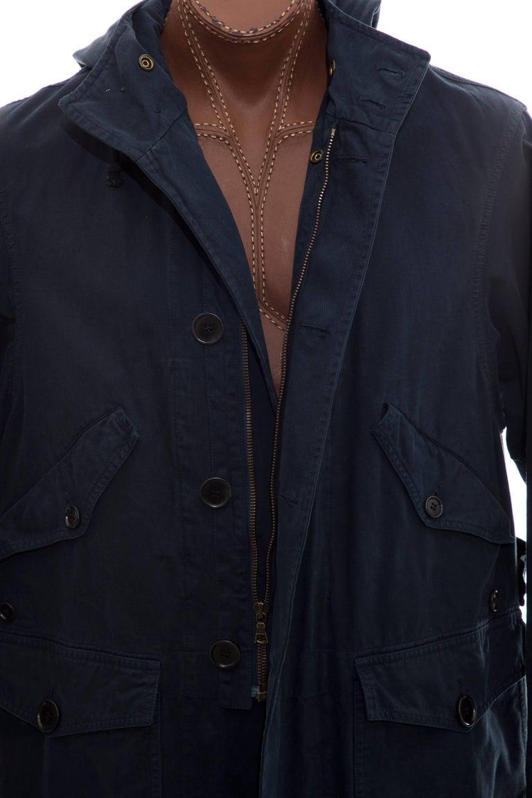 Dries Van Noten Men's Slate Cotton Vaughn Parka With Hood, Fall 2016 For Sale 5
