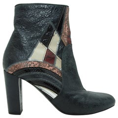 Dries van Noten Multicolor Patchwork Leather Ankle Boots