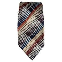 DRIES VAN NOTEN Navy & Brown Plaid Silk Tie