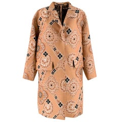 Dries Van Noten Nude Jacquard Embroidered Coat S