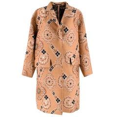 Dries Van Noten Nude Jacquard Embroidered Coat S