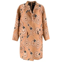 Dries Van Noten Nude Jacquard Embroidered Coat - Size S