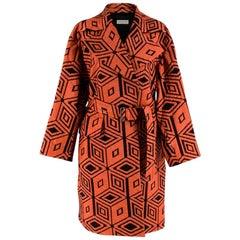 Dries Van Noten Orange & Black Diamond Jacquard Coat XS